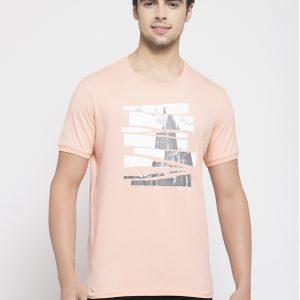 Peach Men's T-shirt, Buy Peach color Tshirt Online, Buy Mens T-shirt online, Summer Wear Tshirt for men, Half sleeeve tshirts for men