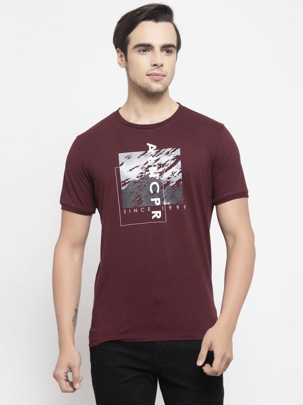 Maroon Color T-shirt For Men, Half Sleeves Mens Tshirt at best price. buy Mens tshirt online at best price. Maroon t-shirt for mens