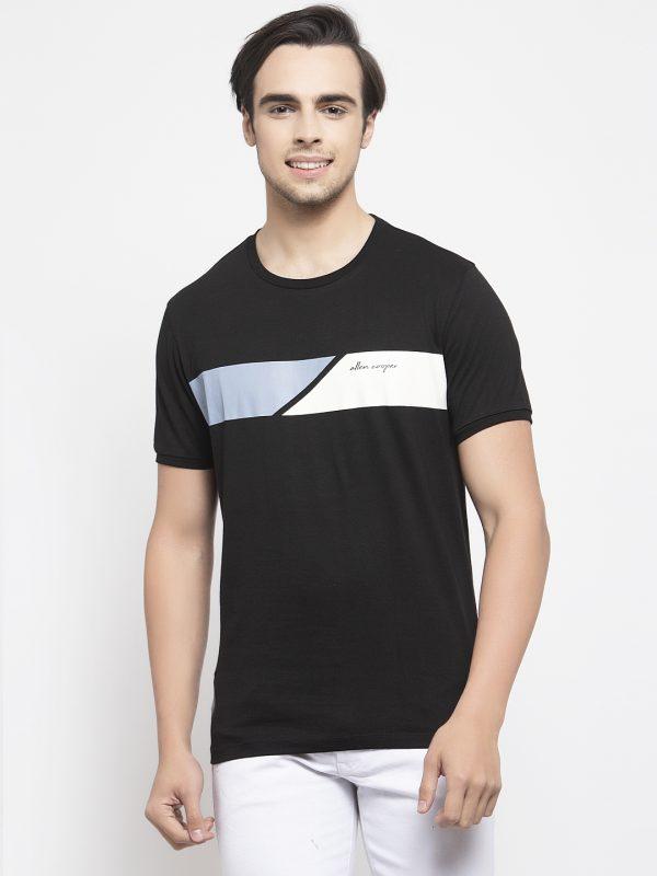 Round Neck Black T-shirt For Mens