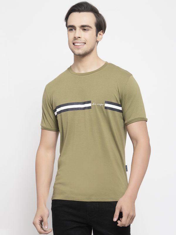 Olive Green Round Neck T-shirt For Men