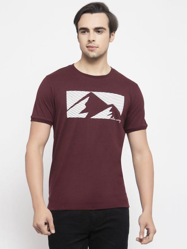 Round Neck Maroon T-shirt For Men