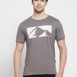 Dark Grey Round Neck T-shirt For Mens - Allen Cooper