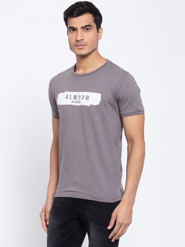 Mens Round Neck Grey T-shirts - Half Sleeves Grey T-shirt for men