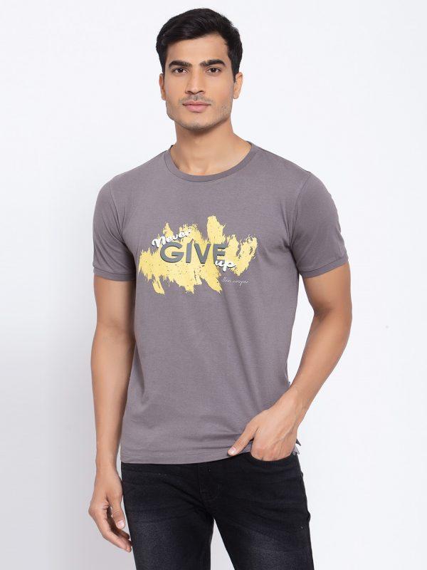 Mens RouDark Grey T-shirt For Mensnd Neck Tshirts at best price, Buy Tshirt for men